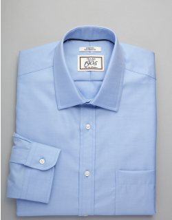 JoS. A. Bank Men's 1905 Collection Tailored Fit Spread Collar Dress Shirt, Blue, 15x34