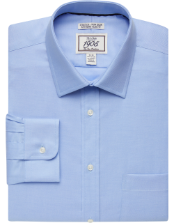 JoS. A. Bank Men's 1905 Collection Extreme Slim Fit Twill Dress Shirt, Blue, 15 1/2x33