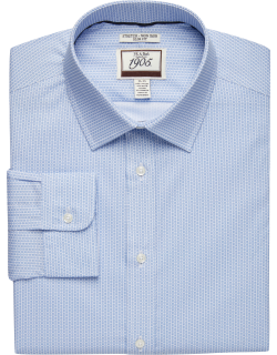 JoS. A. Bank Men's 1905 Collection Slim Fit Spread Collar Square Pattern Dress Shirt Clearance, Blue, 15 1/2x32