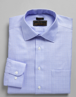 JoS. A. Bank Men's Reserve Collection Tailored Fit Spread Collar Plaid Dress Shirt, Blue, 15 1/2x32