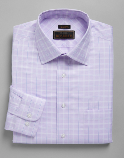 JoS. A. Bank Men's Reserve Collection Traditional Fit Satin Grid Dress Shirt, Purple, 16 1/2x34