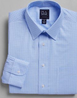 JoS. A. Bank Men's Traveler Collection Traditional Fit Point Collar Plaid Dress Shirt, Blue, 17 1/2x35