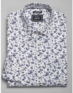 JoS. A. Bank Men's 1905 Navy Collection Slim Fit Spread Collar Floral Dress Shirt, Navy, 16x33