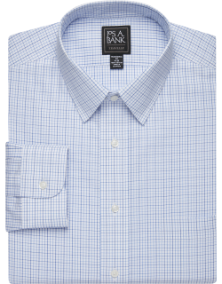 JoS. A. Bank Men's Traveler Collection Traditional Fit Point Collar Grid Dress Shirt Clearance, Blue, 17x33
