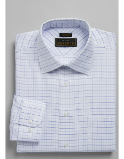 JoS. A. Bank Men's Reserve Collection Traditional Fit Spread Collar Grid Dress Shirt - Big & Tall Clearance, Navy, 16 1/2x37 Tall