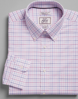 JoS. A. Bank Men's 1905 Collection Tailored Fit Button-Down Collar Grid Dress Shirt Clearance, Berry, 15 1/2x32