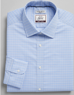 JoS. A. Bank Men's 1905 Collection Slim Fit Spread Collar Check Dress Shirt with brrr°® comfort Clearance, Blue, 16x33