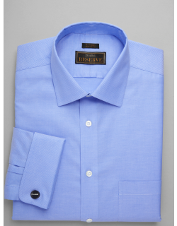JoS. A. Bank Men's Reserve Collection Tailored Fit Spread Collar Textured Dress Shirt - Big & Tall Clearance, Blue, 18 1/2x36 Tall