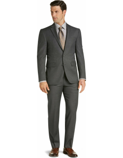 JoS. A. Bank Men's Traveler Collection Slim Fit Micro Check Suit Separate Jacket Clearance, Cambridge Grey, 42 Long