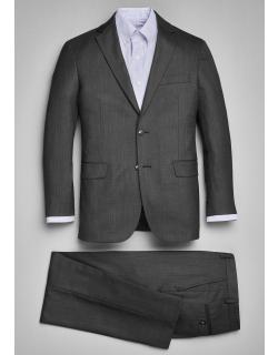 JoS. A. Bank Men's Traveler Collection Tailored Fit Mini Check Suit, Charcoal, 40 Short