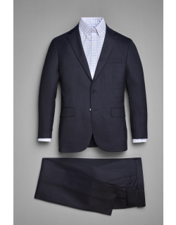 JoS. A. Bank Men's Traveler Collection Tailored Fit Mini Check Suit - Big & Tall, Navy, 48 Long
