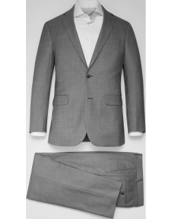 JoS. A. Bank Men's Traveler Collection Tailored Fit Marled Pattern Suit, Light Grey, 44 Long