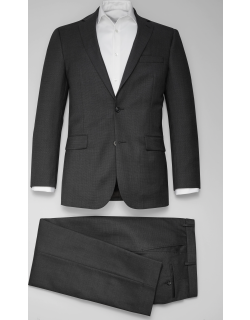 JoS. A. Bank Men's Traveler Collection Tailored Fit Tic Weave Suit, Charcoal, 40 Short