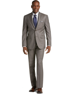 JoS. A. Bank Men's Traveler Collection Tailored Fit Tic Weave Suit Clearance, Tan, 38 Short
