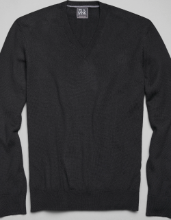 JoS. A. Bank Men's Traveler Collection Tailored Fit Merino Wool V-Neck Sweater, Black, X Large
