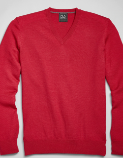 JoS. A. Bank Men's Traveler Collection Tailored Fit Merino Wool V-Neck Sweater, Red, X Large