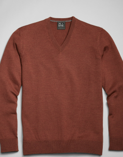 JoS. A. Bank Men's Traveler Collection Tailored Fit Merino Wool V-Neck Sweater, Rust, X Large