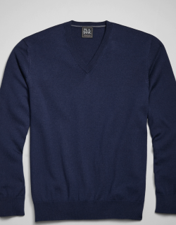 JoS. A. Bank Men's Traveler Collection Tailored Fit Merino Wool V-Neck Sweater, Navy, X Large