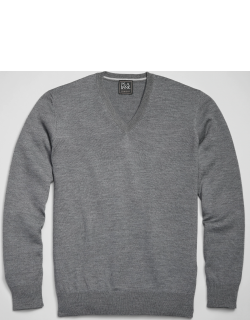 JoS. A. Bank Men's Traveler Collection Tailored Fit Merino Wool V-Neck Sweater, Charcoal, X Large