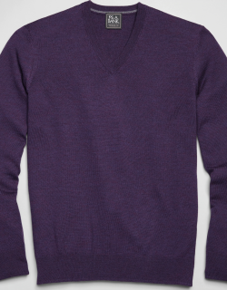 JoS. A. Bank Men's Traveler Collection Tailored Fit Merino Wool V-Neck Sweater, Purple, X Large
