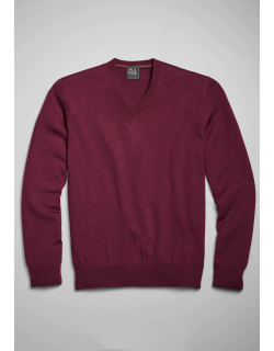 JoS. A. Bank Men's Traveler Collection Tailored Fit Merino Wool V-Neck Sweater, Plum, X Large