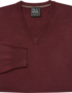 JoS. A. Bank Men's Traveler Collection Tailored Fit Merino Wool V-Neck Sweater, Plum, Small