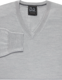 JoS. A. Bank Men's Traveler Collection Tailored Fit Merino Wool V-Neck Sweater, Light Grey, Large