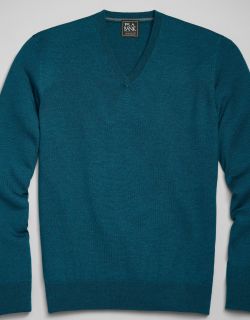 JoS. A. Bank Men's Traveler Collection Tailored Fit Merino Wool V-Neck Sweater, Turquoise, X Large
