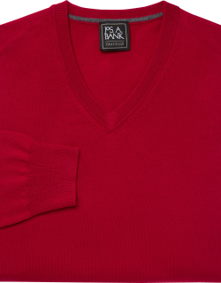 JoS. A. Bank Men's Traveler Collection Tailored Fit Merino Wool V-Neck Sweater, Dark Red, Large