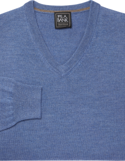 JoS. A. Bank Men's Traveler Collection Tailored Fit Merino Wool V-Neck Sweater, Light Blue, X Large