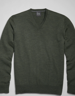 JoS. A. Bank Men's Traveler Collection Tailored Fit Merino Wool V-Neck Sweater, Olive, Large