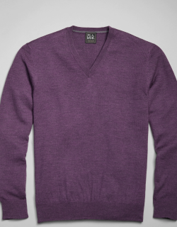 JoS. A. Bank Men's Traveler Collection Tailored Fit Merino Wool V-Neck Sweater, Violet, Large