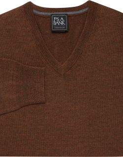 JoS. A. Bank Men's Traveler Collection Tailored Fit Merino Wool V-Neck Sweater, Walnut, Small
