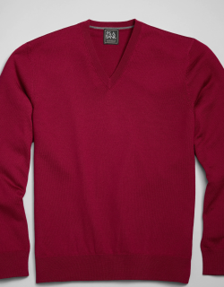 JoS. A. Bank Men's Traveler Collection Tailored Fit Merino Wool V-Neck Sweater, Wine, Large