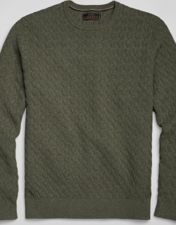 JoS. A. Bank Men's Reserve Collection Cotton & Cashmere Crew Neck Sweater, Olive, X Large