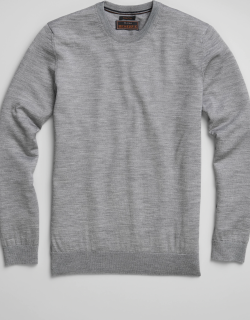 JoS. A. Bank Men's Reserve Collection Tailored Fit Merino Wool Crew Neck Sweater, Light Grey, Large
