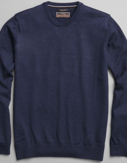JoS. A. Bank Men's Reserve Collection Tailored Fit Merino Wool Crew Neck Sweater, Navy, Large