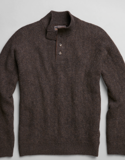 JoS. A. Bank Men's Reserve Tailored Fit Wool-Blend Textured Mock Neck Sweater, Brown, Large