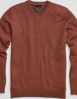 JoS. A. Bank Men's Reserve Collection Tailored Fit Merino Wool Crew Neck Sweater, Rust, Large
