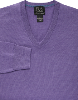 JoS. A. Bank Men's Traveler Collection Tailored Fit Merino Wool V-Neck Sweater, Light Purple, Small