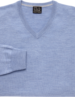 JoS. A. Bank Men's Traveler Collection Washable Merino Wool Sweater, Light Blue, X Large