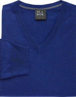 JoS. A. Bank Men's Traveler Collection Tailored Fit Merino Wool V-Neck Sweater, Bright Blue, XX Large