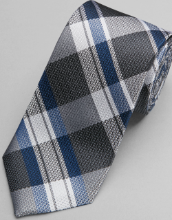JoS. A. Bank Men's 1905 Collection Woven Plaid Tie, Grey, One