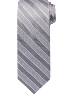 JoS. A. Bank Men's Reserve Collection Textured Stripe Tie, Silver, One