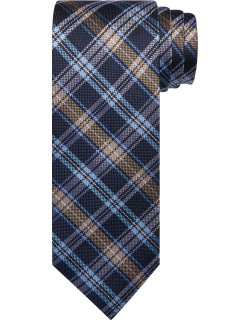 JoS. A. Bank Men's Traveler Collection Plaid Tie, Taupe, One