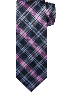 JoS. A. Bank Men's Traveler Collection Plaid Tie, Pink, One