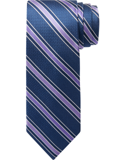 JoS. A. Bank Men's Traveler Collection Woven & Solid Stripe Tie, Purple, One