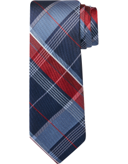 JoS. A. Bank Men's Traveler Collection Plaid Tie, Red, One