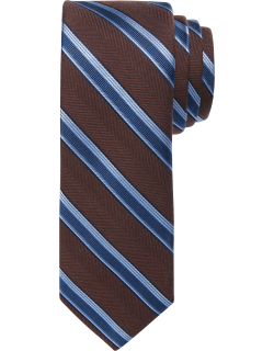 JoS. A. Bank Men's 1905 Collection Stripe and Herringbone Pattern Tie, Brown, One