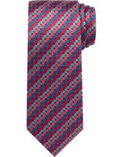 JoS. A. Bank Men's Reserve Collection Geometric Stripe Tie, Red, One